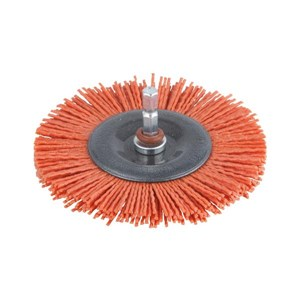 WOLFCRAFT Nylon Wheel Brush 6mmShankx100mm Red/Agg