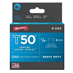 "ARROW 504IP/T50 1/4""-6mm 5000 Staples"